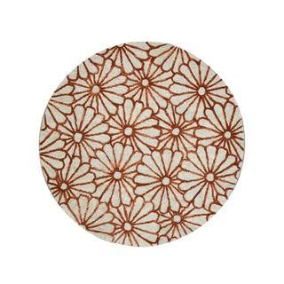 EORC Hand-tufted Wool &Viscose Beige Sunfower Rug (6' x 6')