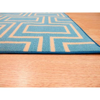 Blue Contemporary Geometric Brandon Rug (8'10 x 11'10)