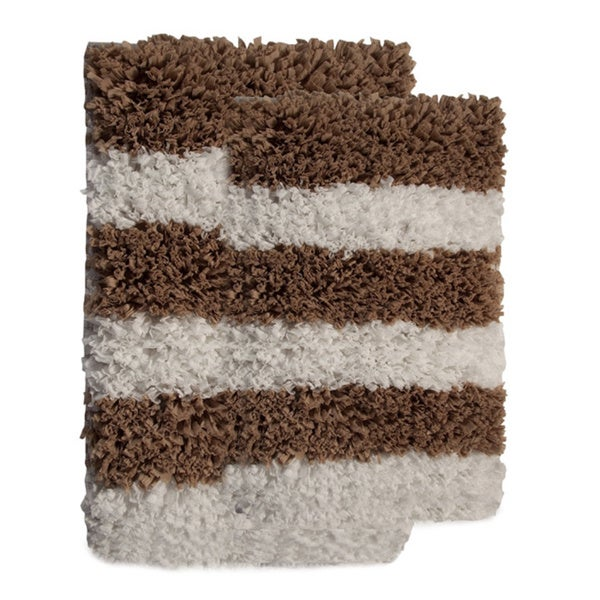 Saffron Fabs Allure Stripes Shaggy Bath Rug (Set of 2)