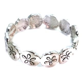 Mama Designs Beautiful Silver Sand Dollar Stretch Bracelet