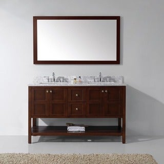 Virtu USA Winterfell 60-inch Double Bathroom Vanity Cabinet Set in Cherry
