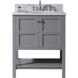 Virtu USA Winterfell 30 Inch Single Italian Carrara White Marble Bathroom  Vanity Set Without Mirror