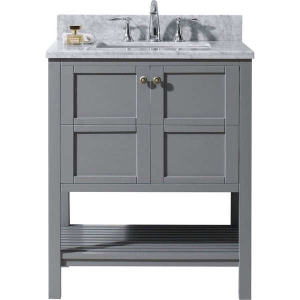Great Virtu USA Winterfell 30 Inch Single Italian Carrara White Marble Bathroom Vanity  Set Without Mirror