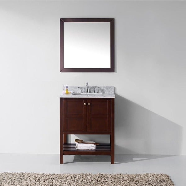 Virtu Usa Winterfell 30 Inch Round Single Bathroom Vanity Cabinet Set Without Mirror Free