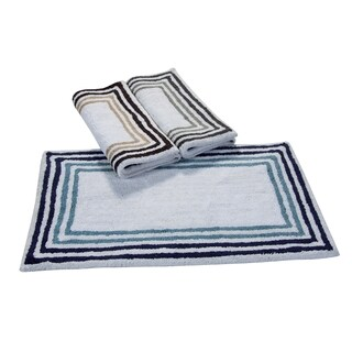 Saffron Fabs Cotton Tonal Stripe Bath Rug (Set of 2)