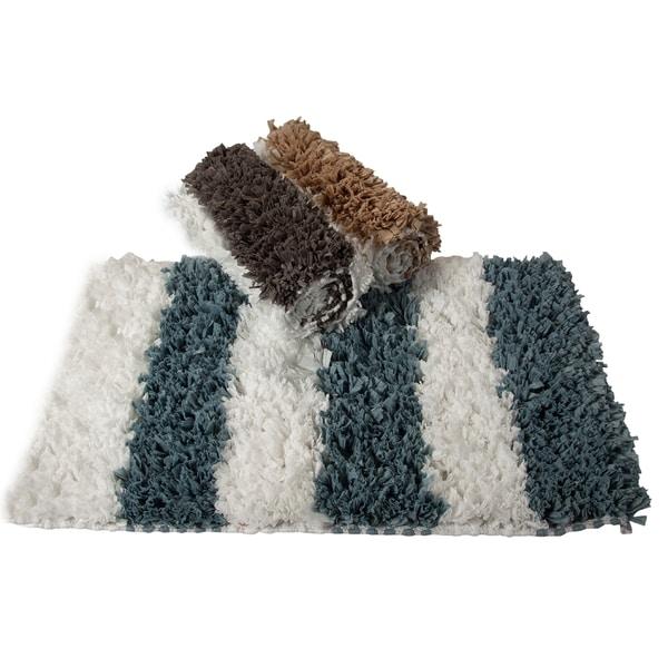 Saffron Fabs Allure Stripes Shaggy Bath Rug