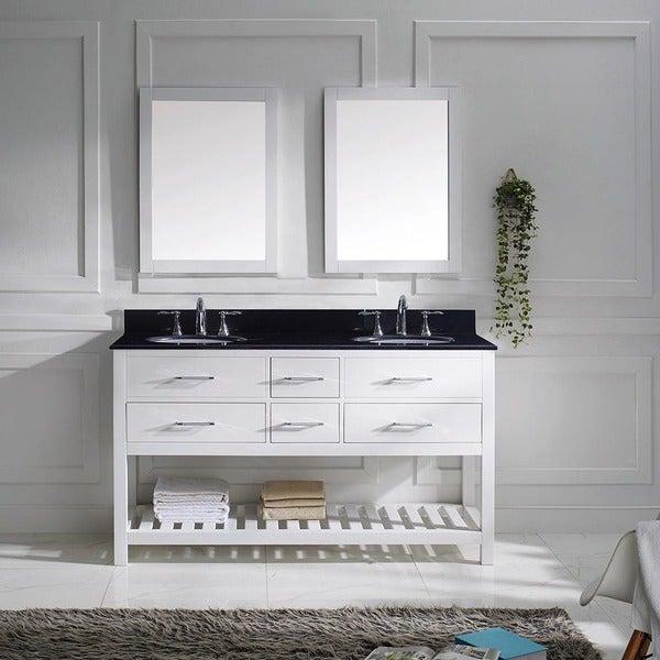 Virtu Usa Caroline Estate 60 Inch Double Bathroom Vanity Cabinet Set In White Free Shipping