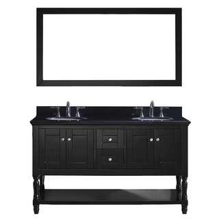 Virtu USA Julianna  60-inch Double Bathroom Vanity Cabinet Set in Espresso