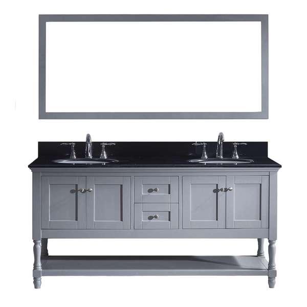 Virtu USA Julianna 72-inch Double Bathroom Vanity Cabinet Set in Grey