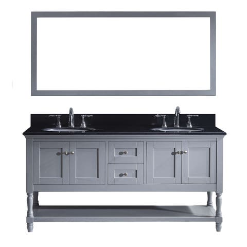 Julianna 72-inch Grey Double Vanity Black Granite Top with Mirror