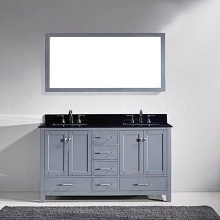 Virtu USA Caroline Avenue 60-inch Double Black Granite Bathroom Vanity Set
