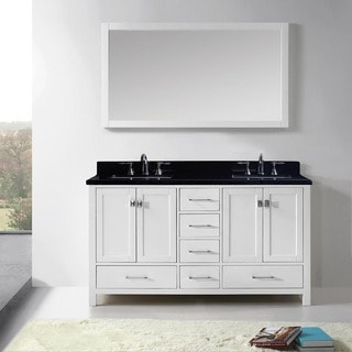 Virtu USA Caroline Avenue 60-inch Double Bathroom Vanity Cabinet Set in White