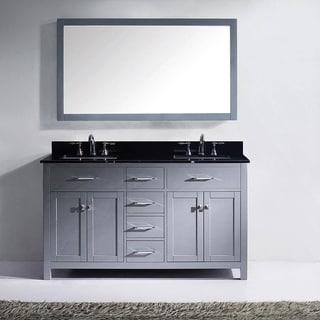 60 inch black bathroom vanity. virtu usa caroline 60-inch black granite double bathroom vanity cabinet set 60 inch