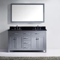 Virtu USA Caroline 72-inch Carrara White Marble Double Bathroom Vanity Set