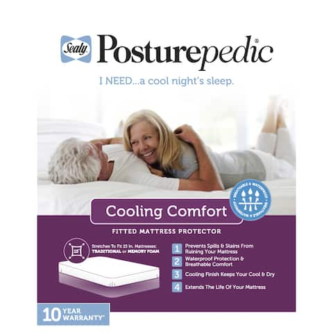 Sealy Posturepedic Cool Comfort Mattress Protector - White