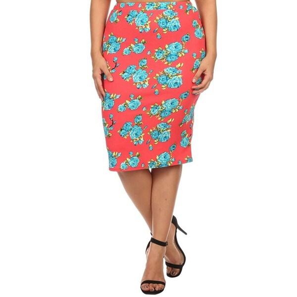 5785a1d112c Shop MOA Collection Women s Plus Size Floral Pencil Skirt - On Sale ...