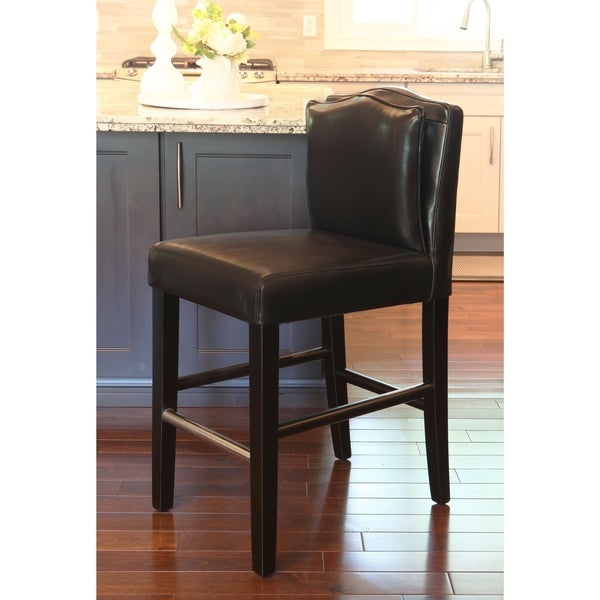 Shop Hd Couture Pillowback Black Leather Counterstool