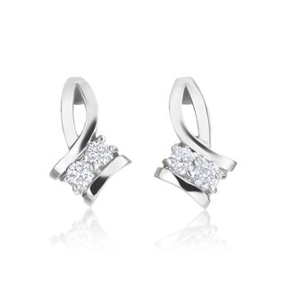 SummerRose 14k White Gold 1/5ct TDW Forever 2 Two-Stone Diamond Earrings - White H-I