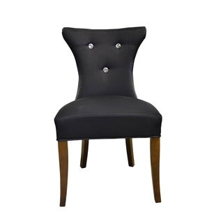 HD Couture Black Faux Silk 2-pack Cosmo Diamond Tufted Chair