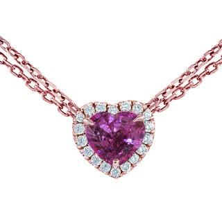 14k Rose Gold Pink Sapphire 1 1/2ct TDW Diamond Heart Pendant (G-H, VS1-VS2)