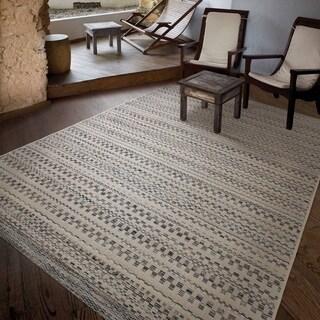 "Carolina Weavers Boardwalk Collection Beryl Border Gray Area Rug (5'1 x 7'6) - 5'1"" x 7'6"""
