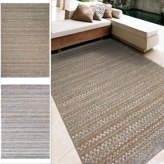 "Indoor/Outdoor Stripes Celestial Area Rug (5'1"" x 7'6"")"