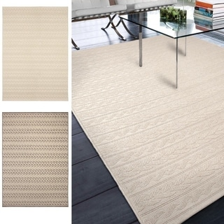 "Indoor/Outdoor Stripes Braided Sand Area Rug (5'1"" x 7'6"")"