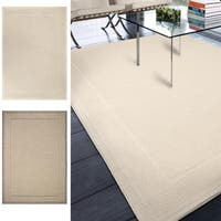 Havenside Home Bayville Beige Bordered Area Rug (5'1 x 7'6)