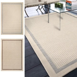 Indoor/Outdoor Border Speckled Shore Area Rug (5'1 x 7'6)