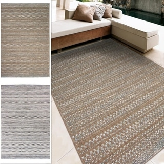 Indoor/Outdoor Stripes Celestial Area Rug (7'7 x 10'10)
