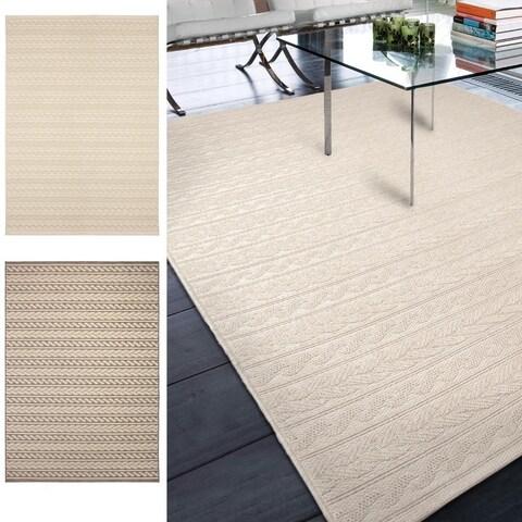 Carolina Weavers Seaside Collection Braided Sand Beige Area Rug (7'7 x 10'10)