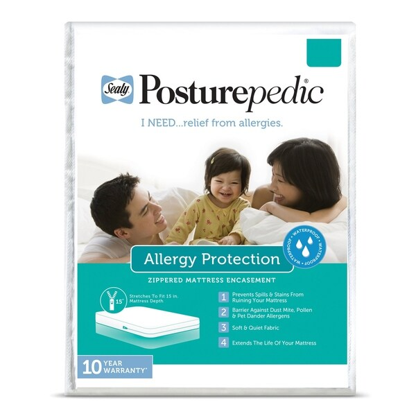 Sealy Allergy Protection Zippered Mattress Protector - White
