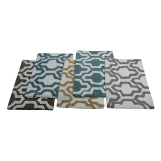 Saffron Fabs Cotton Quatrefoil Bath Rug (Set of 2)