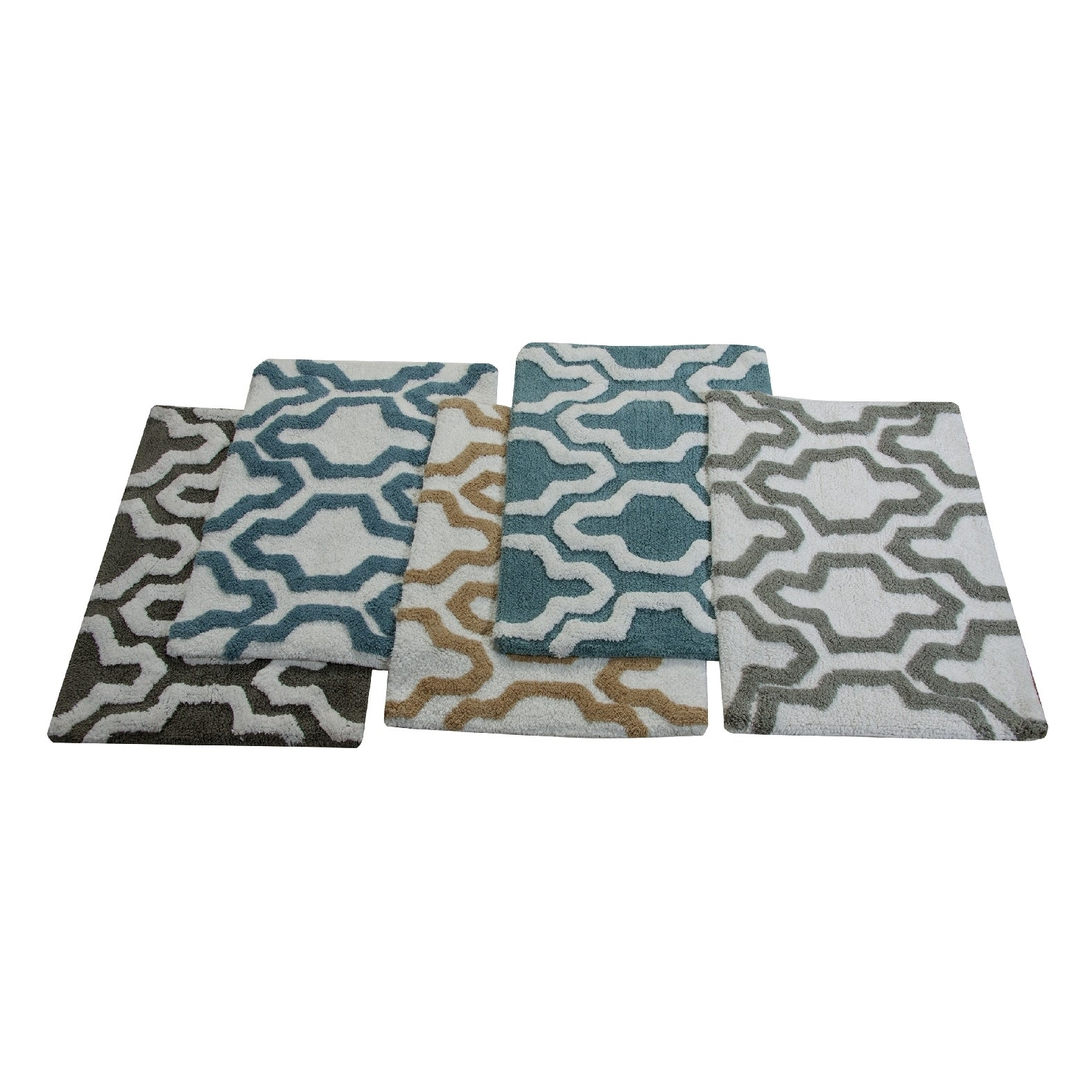 saffron fabs 2 piece 100 soft cotton bath rug set gray/white | ebay