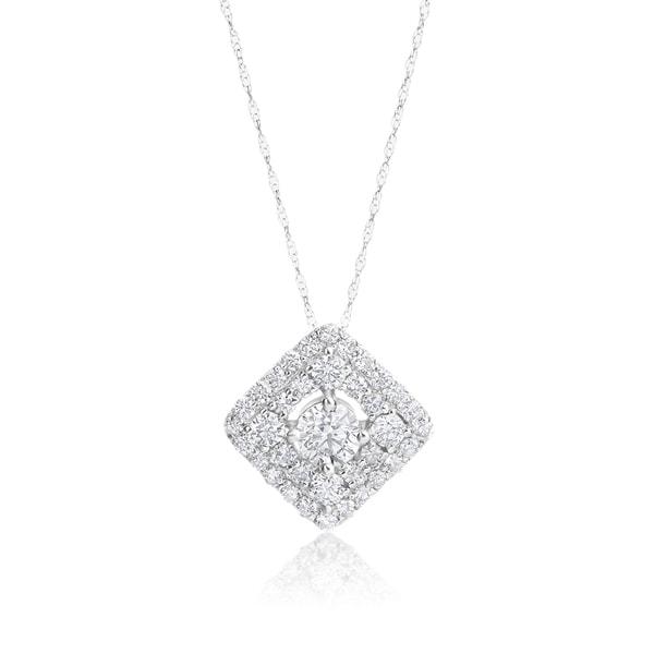 b31a08eef15dd Shop SummerRose 14k White Gold 1 1/4ct TDW Diamond Pendant - On Sale ...