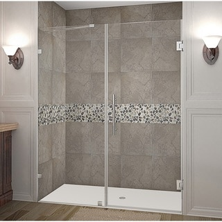 Aston Nautis 76 x 72-inch Completely Frameless Hinged Shower Door
