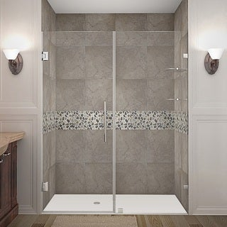Aston Nautis GS 62 x 72-inch Completely Frameless Hinged Shower Door With Glass Shelves