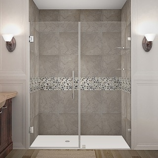 Aston Nautis GS 70 x 72-inch Completely Frameless Hinged Shower Door With Glass Shelves