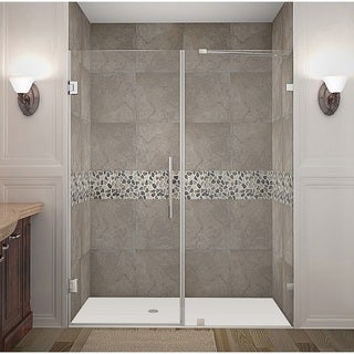 Aston Nautis GS 71 x 72-inch Completely Frameless Hinged Shower Door With Glass Shelves