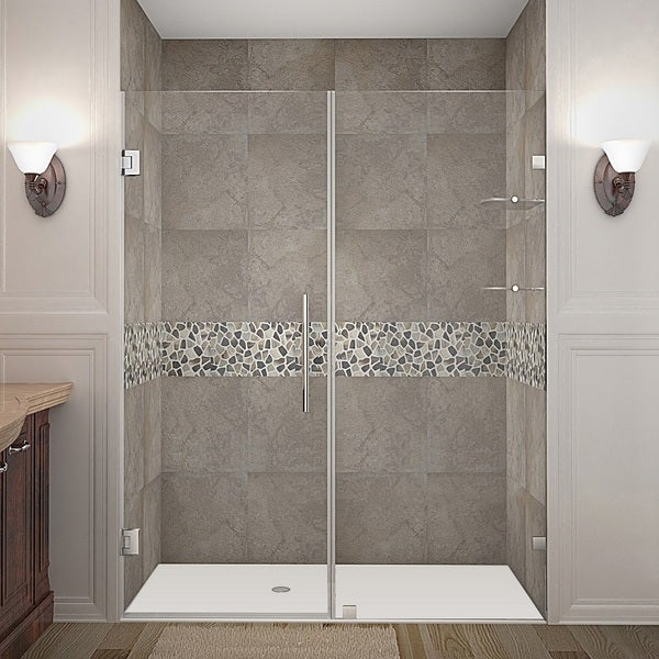 Aston Nautis GS 72 x 72-inch Completely Frameless Hinged Shower Door With Glass Shelves