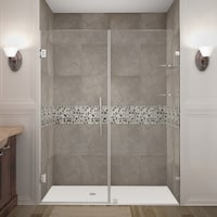 Aston Nautis GS 76 x 72-inch Completely Frameless Hinged Shower Door With Glass Shelves