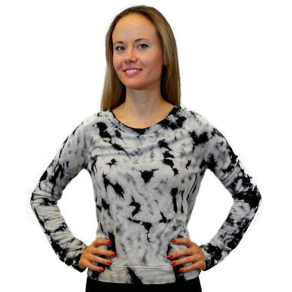 Womens Tie Dye Long Sleeve Crewneck Knit Shirt Top