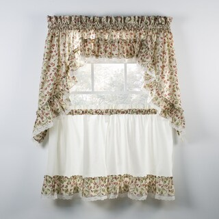 Ellis Curtain Clarice Red Ruffled Swag and Tiers sold seperately