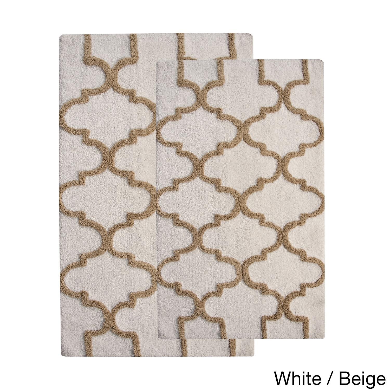 saffron fabs 2 piece 100 soft cotton bath rug set white/beige | ebay