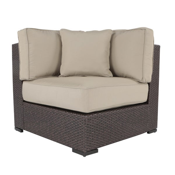 Serta Outdoor Collection Armless Corner Chair with Cushions, Beige/Dark Brown - Free Shipping ...