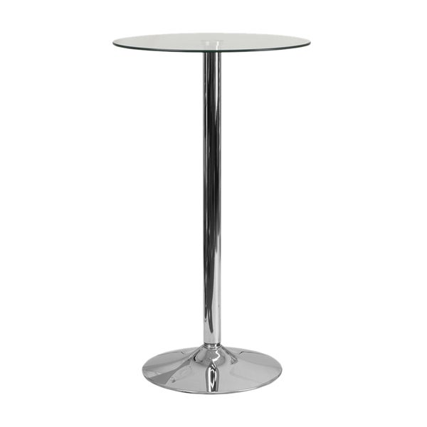 Offex 23.75-inch Round Glass Table with Chrome Base