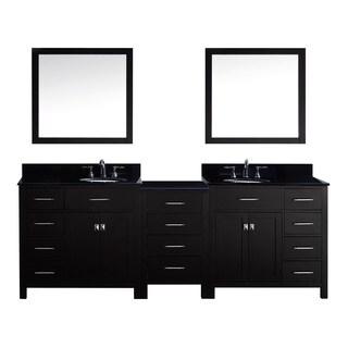Virtu USA Caroline Parkway 93-inch Double Bathroom Vanity Cabinet Set in Espresso