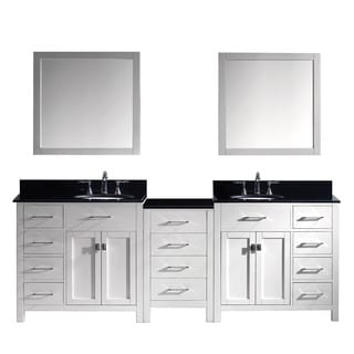 Virtu USA Caroline Parkway 93-inch Double Bathroom Vanity Cabinet Set in White