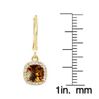 Sterling Silver 14k Yellow Goldplated Cushion Gemstone Leverback Dangle Earrings