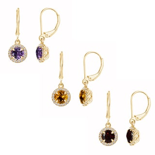 Sterling Silver 14k Yellow Goldplated 6mm Gemstone Leverback Dangle Earrings